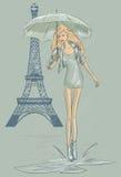 De Maniermeisje van Parijs dichtbij de Toren van Eiffel Stock Fotografie