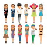 De maniermeisjes van het Cutiebeeldverhaal in kleurrijke kleren royalty-vrije illustratie