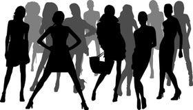 De maniermeisjes van het silhouet Stock Foto's