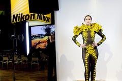 De manierverklaring van Nikon bij CES stock afbeelding