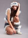 De maniervrouw van de winter Stock Afbeeldingen