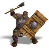 De mannelijke Barbaar van de Orka van de Fantasie met ReuzeBijl stock illustratie