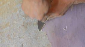 De mannelijke bouwershand scheurt weg of schil oud roze behang van de muur met een speciale spatel stock footage