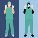 De mannelijke chirurg schrobt binnen vector illustratie