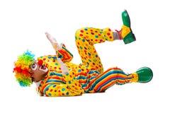 De mannelijke die clown op wit wordt ge?soleerd stock afbeelding