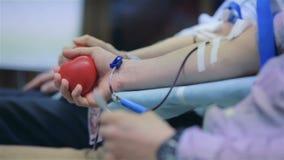 De mannelijke donors schenken vrijwillig bloed stock video