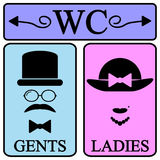 De mannelijke en vrouwelijke pictogrammen van het toiletsymbool Stock Foto