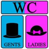 De mannelijke en vrouwelijke pictogrammen van het toiletsymbool Royalty-vrije Stock Foto's