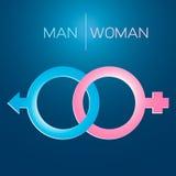 De mannelijke en Vrouwelijke Symbolen van het Geslacht Stock Afbeeldingen