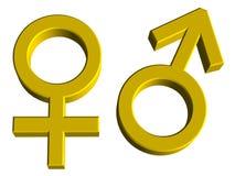 De mannelijke en Vrouwelijke Symbolen van het Geslacht Stock Foto