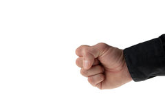 De mannelijke hand die van Caucasion een vuist maakt stock foto's