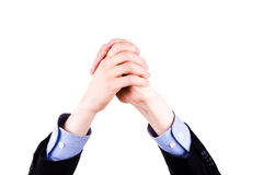 De mannelijke handen brengen in voltooiingsteken samen. Het concept van het succes. Stock Foto's
