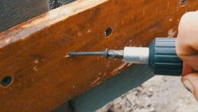 De mannelijke handen halen de schroef in houten raad met een speciale schroevedraaier aan stock video