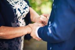 De mannelijke handen houden bejaarde handen De zoon houdt de moeder royalty-vrije stock afbeelding