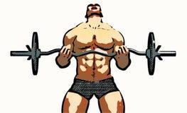 de mannelijke illustratie van de lichaamsbouwer - gewichtsheftoestel Stock Foto