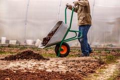 De mannelijke landbouwer brengt de mest van de grondmeststof aan Stock Foto's