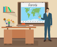 De mannelijke leraar van de schoolaardrijkskunde in het concept van de publieksklasse Vector illustratie Stock Foto