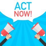 De mannelijke megafoon van de handholding met Akte nu! toespraakbel Banner voor zaken Vector illustratie stock afbeelding