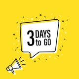 De mannelijke megafoon van de handholding met 3 dagen om te gaan toespraakbel luidspreker Banner voor zaken, marketing en reclame royalty-vrije illustratie