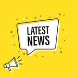 De mannelijke megafoon van de handholding met de Recentste bel van de nieuwstoespraak luidspreker Banner voor zaken, marketing en vector illustratie