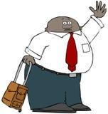 De mannelijke reiziger met draagt zak Stock Foto