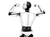De mannelijke robot die het bodybuilding doet stelt. Stock Foto