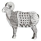 De mannelijke rotsachtige ram die van berg bighorn schapen zentangle stileert bevinden zich Royalty-vrije Stock Afbeelding