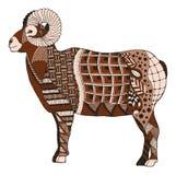 De mannelijke rotsachtige ram die van berg bighorn schapen zentangle stileert bevinden zich Royalty-vrije Stock Afbeeldingen