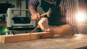 De mannelijke timmerman gebruikt hulpmiddelen terwijl het werken met hout stock video
