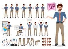 De mannelijke vectorreeks van de bedrijfskarakterverwezenlijking Het beeldverhaalkarakter van de bureaumens royalty-vrije illustratie