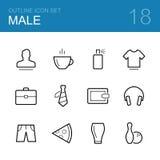 De mannelijke vectorreeks van het overzichtspictogram Stock Foto's