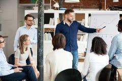 De mannelijke werknemers huidige bedrijfsstrategie op flipchart tijdens komt samen royalty-vrije stock afbeeldingen