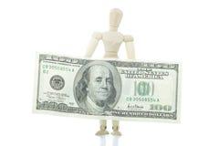 De mannequin houdt dollarrekening Royalty-vrije Stock Afbeelding