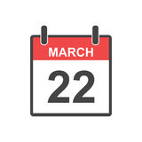 22 de março ícone do calendário Ilustração do vetor no estilo liso Imagem de Stock
