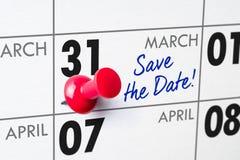31 de março Imagens de Stock