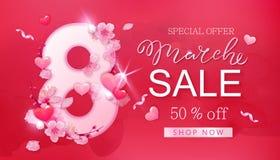 8 de março bandeira da venda com coração e sakura Imagens de Stock Royalty Free