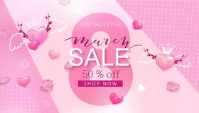 8 de março bandeira da venda com coração e sakura Imagem de Stock