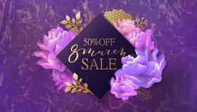 8 de março bandeira da venda com flor, mármore Foto de Stock Royalty Free