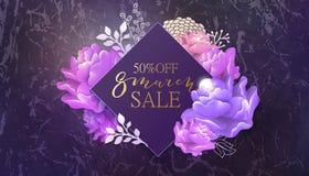 8 de março bandeira da venda com flor, mármore Fotografia de Stock