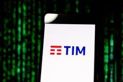 10 de março de 2019, Brasil Logotipo 'TIM 'do operador na tela do dispositivo móvel É uma companhia telefônica em Brasil Seu head imagem de stock
