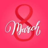 8 de março caligrafia do rosa cor-de-rosa Fotos de Stock