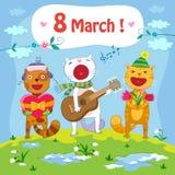 8 de março cartão ilustração royalty free
