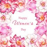 8 de março cartão com flores da aquarela Imagens de Stock Royalty Free