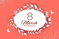 8 de março cartão de cumprimentos O dia das mulheres internacionais Folhas brancas do corte de papel floral realístico Ramalhete  ilustração stock