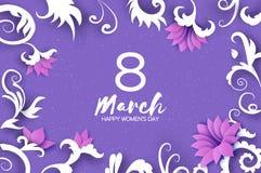 8 de março cartão de cumprimentos O dia das mulheres internacionais O papel floral realístico cortou flores cor-de-rosa e as folh ilustração do vetor