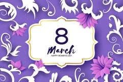 8 de março cartão de cumprimentos O dia das mulheres internacionais O papel floral realístico cortou flores cor-de-rosa e as folh ilustração royalty free