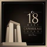 18 de março, cartão da celebração de Canakkale Victory Day Turkey ilustração do vetor