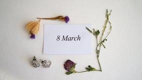 8 de março, cartão Dia internacional do ` s das mulheres Fotos de Stock Royalty Free