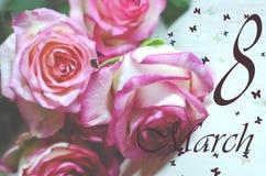 8 de março cartão do dia do ` s das mulheres Foto de Stock