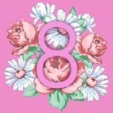 8 de março Cartão feliz do dia do ` s das mulheres, bandeira floral, fundo do vetor do feriado Rosa 8 em um floral tirado mão Foto de Stock